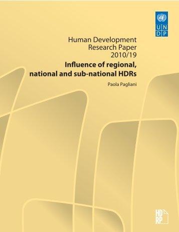 Human Development Research Paper 2010/19 Influence of regional ...