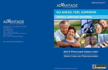 Advantage By Superior 2013 Nueces Provider Directory Cover
