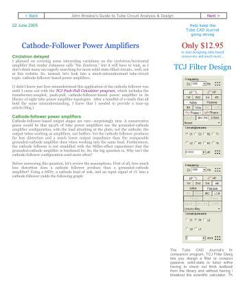 Cathode-Follower Power Amplifiers - Tube CAD Journal