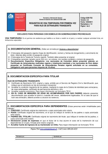 REQUISITOS DE VISA TEMPORARIA POR PRIMERA VEZ PARA ...