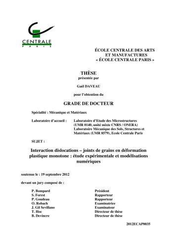 Ph.D. thesis, Ecole Centrale Paris, 2012. - Laboratoire d'Etude des ...