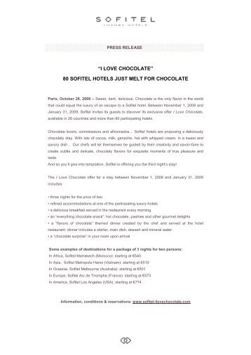 Press Release - I LOVE CHOCOLATE-US