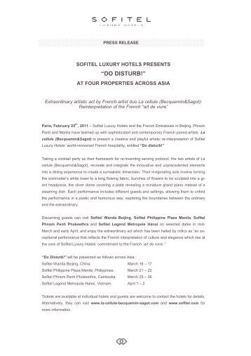 Sofitel Press Release - La cellule in Asia - US