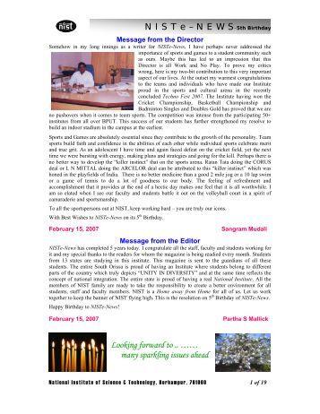 NIST e-NEWS(Vol 46, Feb 15, 2007)