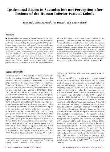 Ipsilesional Biases in Saccades but not Perception after ... - Cisi