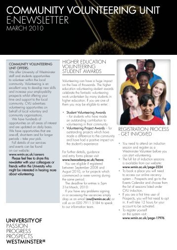 community volunteering unit e-newsletter - University of Westminster