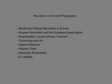 Revolution in Art and Photography - School of Image Arts