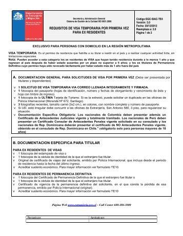 Requisitos - Departamento de Extranjería y Migración