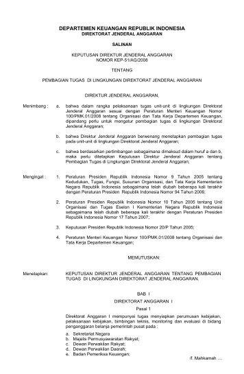Keputusan Dirjen Anggaran Nomor Kep-51/AG Tahun 2008 ...