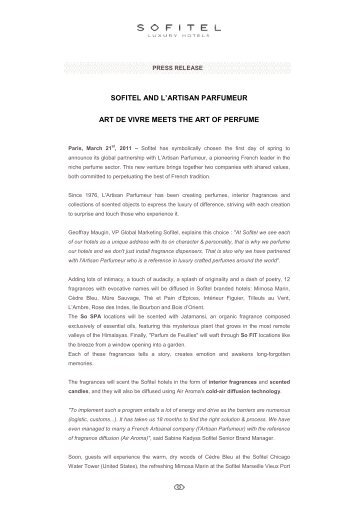 Press Release - Sofitel Luxury Hotels & the Artisan Parfumeur - US