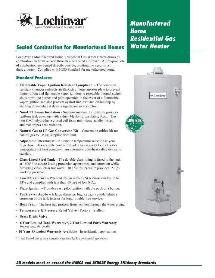 LOCHINVAR RESIDENTIAL GAS WATER HEATERS INSTRUCTION MANUAL - induced ...