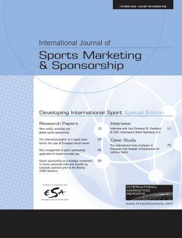 international sport marketing International journal of sports marketing and sponsorship | read articles with  impact on researchgate, the professional network for scientists.