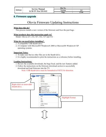 Olevia Firmware Updating Instructions