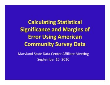 Calculating Statistical Significance and Margins of Error Using ...