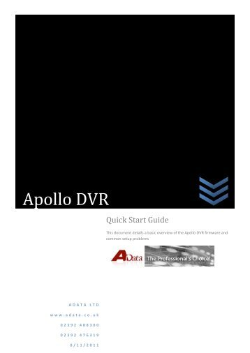 Apollo Quick Start Guide - Firmware Version 2.608 ... - Qvis Security