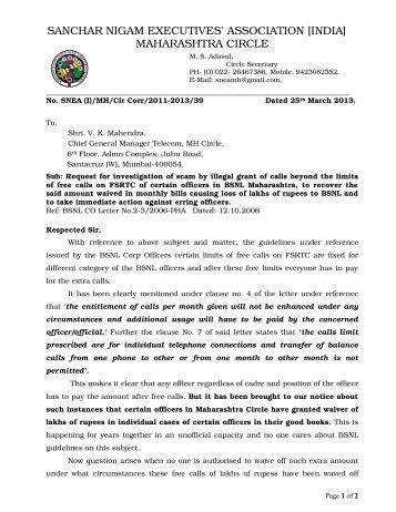 sanchar nigam executives' association [india] maharashtra ... - snea