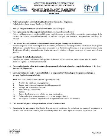 Requisitos para Visa para Dependiente de Personal Permanente SEM