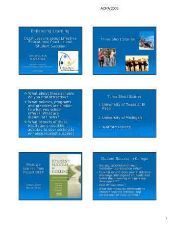 Enhancing learning: DEEP lessons about effective ... - NSSE