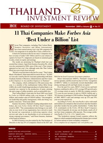 11 Thai Companies Make Forbes Asia 'Best Under a Billion' List