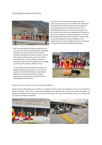 Exercice ReDog et ambulanciers de Sierre - Swissrescue