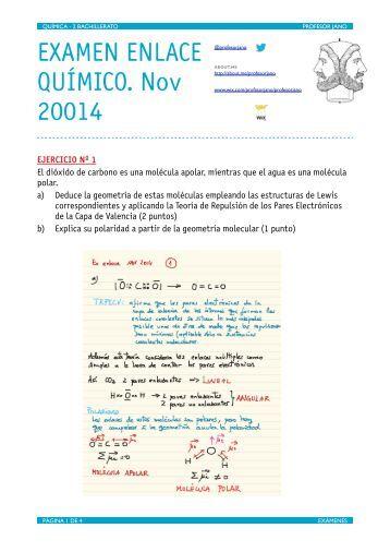 EXAMEN ENLACE QUÍMICO. Nov 20014