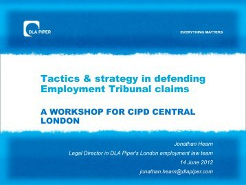 Tactics in Employment Tribunal Litigation A WORKSHOP ... - CIPD