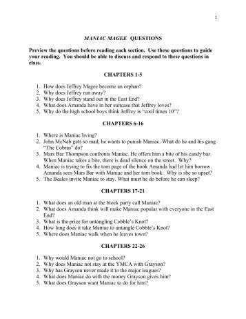 essay questions for maniac magee