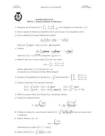 MATEMATICAS II HOJA 1: Integral definida de Riemann. 1 ...