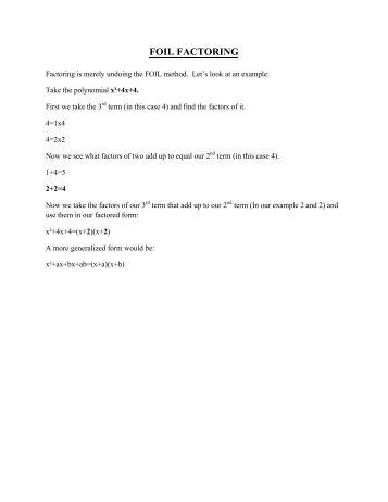 Factoring quadratics worksheet answer key