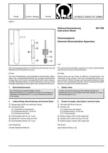 LEYBOLD DIDACTIC GMBH Gebrauchsanweisung 667 509 ...