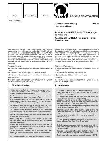 LEYBOLD DIDACTIC GMBH Gebrauchsanweisung 388 22 ...