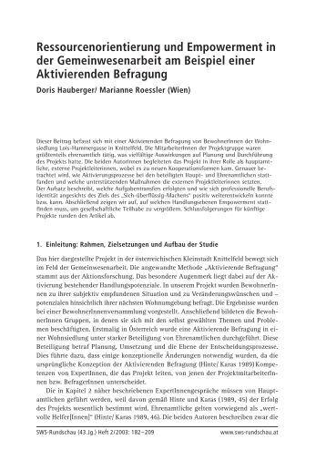 Ressourcenorientierung und Empowerment in ... - SWS-Rundschau