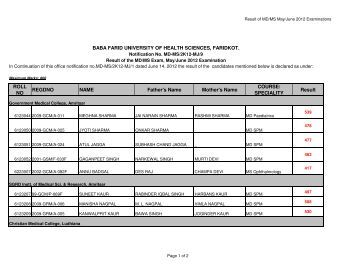 MD/MS Exam, May/June 2012 Examination Notification 9