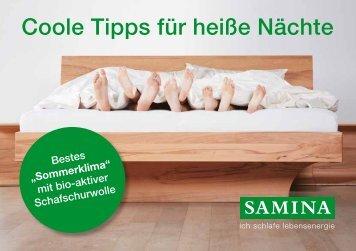 SAMINA Schlaftipps - Coole Tipps für heiße Nächte
