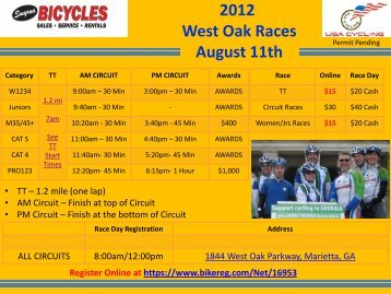 2012 West Oak Races August 11th - Spincycle Sports Marketing