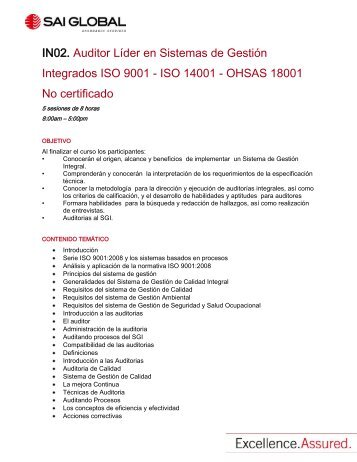 ISO 14001 - OHSAS 18001 No certificado - SAI Global