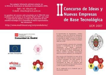 II Concurso de ideas. Creación de empresas de base ... - Madri+d