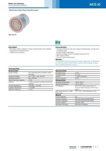 MCS 30 - Metal Line Switches - Schurter