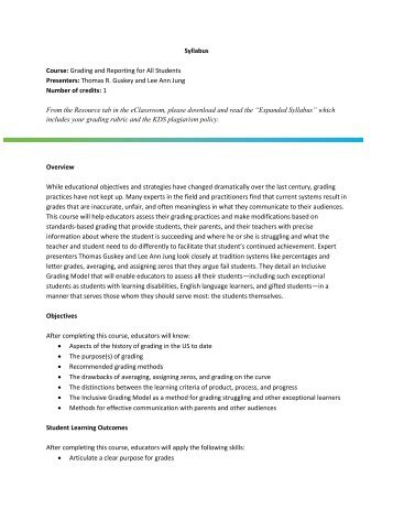 Syllabus Course: Grading and Reporting for All Students Presenters ...