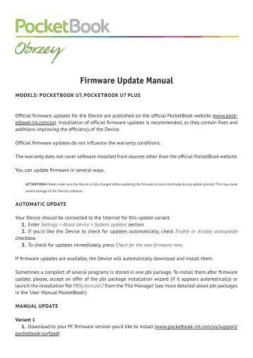 Firmware Update Manual PocketBook U7