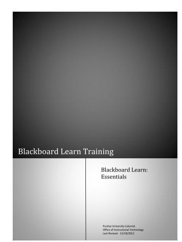 Blackboard Learn Training - Purdue University Calumet