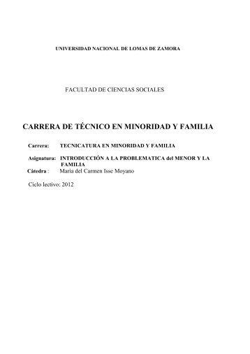 Introducción a la Problemática del Menor y la Familia - Facultad de ...