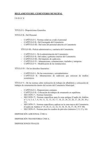 Reglamento del Cementerio Municipal - ISOTools