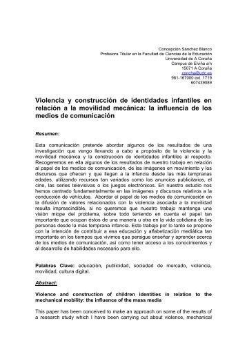 Violencia y construcción de identidades infantiles en relación a la ...