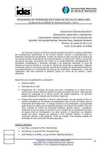 Lecturas en Ciencias Sociales II - IDES