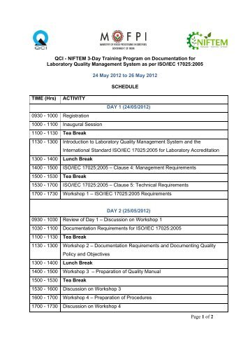Page 1 of 2 QCI - NIFTEM 3-Day Training Program on ...