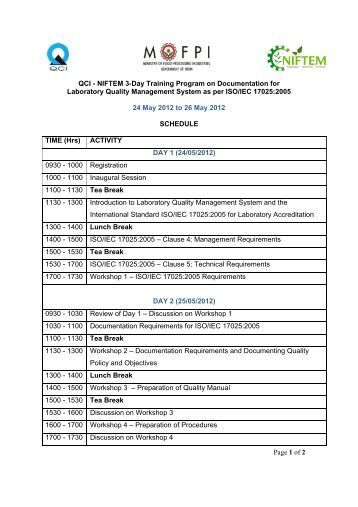 Page 1 of 2 QCI - NIFTEM 3-Day Training Program on ...