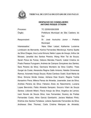 TC 22050/026/2008 Órgão - Tribunal de Contas do Estado de São ...