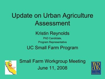 Update on Urban Agriculture Assessment - University of California ...