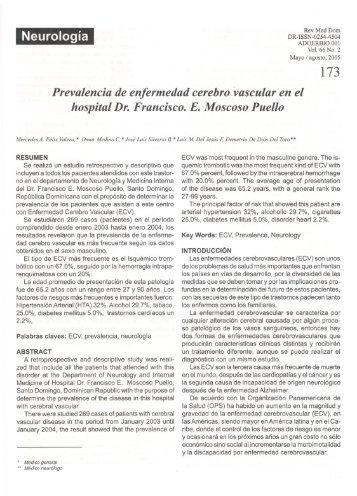 Prevalencia de enfermedad cerebro vascular en el hospital Dr ...